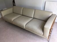 Habitat cream leather three-seater Robin Day sofa