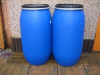 2 x Water Butt Plastic Barrel with clamps AIRTIGHT allotment storage shipping container farmer
