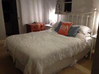 King Size Divan Bed Base with Cream Metal Headboard