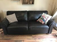 Brown real leather 3 seater sofa, 2 seater sofa and footstool