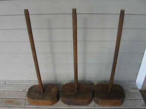 TTHREE STURDY STRONG  MATCHING.HAND-CRAFTED SOLID-WOOD END TABLE BASES