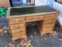 Pine Pedestal Desk with Drawers