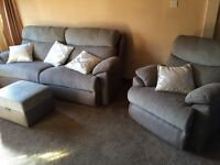 Three seater sofa reclining chair and footstool