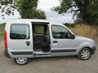 Renault Kangoo with disabled wheelchair access ramp and twin rear sliding doors.