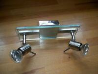 Glass & Chrome 2 Lamp Spotlight Bar