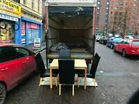 beech wood dinning room table and 4 black leather chairs £99