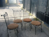 Dinning/Conservatory 4 padded metal framed chairs
