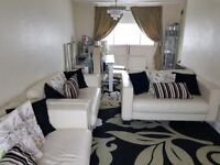 Excellent Cream Leather Sofa** a 3 seater and 2 seater and 2 seater