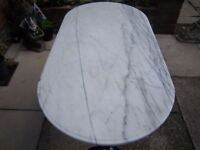 OVAL MARBLE TOP GARDEN/KITCHEN TABLE CAST IRON SUPPORTS