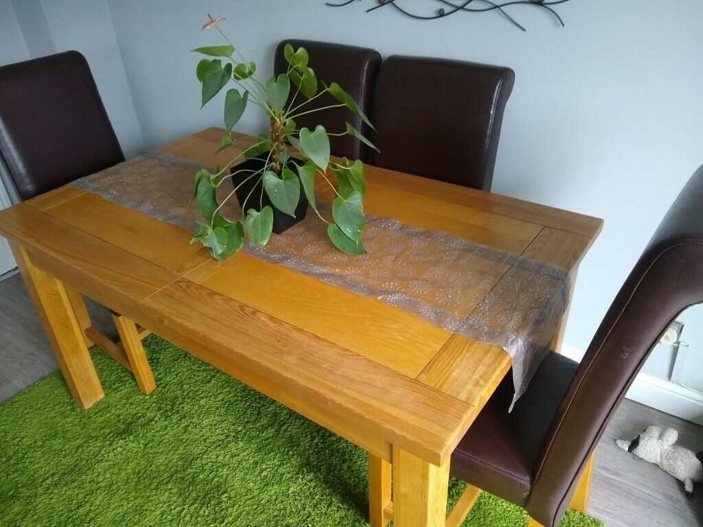 Quality solid oak Extending dining table,4 Italian real ...