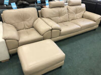Three Seater Leather Sofa & Armchair On Chrome Feet With Footstool