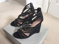 Carvela Kurt Geiger (NEW) Black Diamente Wedge - UK Size 4