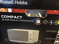 Russell Hobbs compact silver manual microwave RRP £119.99 NEW