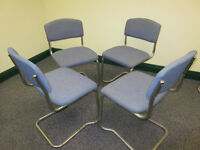 BLUE STACKABLE OFFICE/MEETING/RECEPTION CHAIRS X 4 AVAILABLE