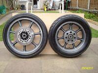 Kawasaki GT 550 front and rear wheels