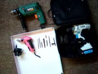 Power Drills Bundle. Impact Driver. Hammer Drill. Electric Screwdriver.