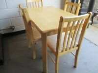 BIRCH DINING TABLE WITH FOUR 4 DINING CHAIRS FREE DELIVERY