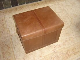 Real Leather Storage Trunk in a Tan colour.