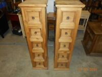 2 mexican pine 5 drawers chests