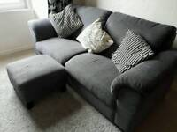 Ikea Hensta grey sofa including foot stool