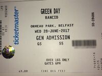 1 x Green Day / Rancid ticket, Ormeau Park, Wed 28th June