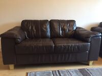 Brown leather double seated 2 sofas excellent condition & seats