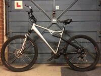 Custom alloy frame mountain bike, MTB, full suspension, RockShox Dart3, shimano, Disc brakes, etc