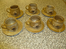 Mushroom Design Cups and Saucers