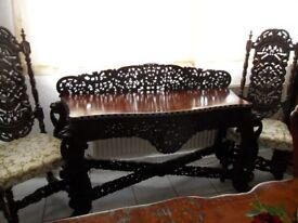 Antique Anglo Indian Carved Hardwood Console Side Table 19th Century