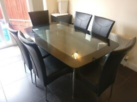 Black/Chrome Glass Dining Table Set + 6 Black Faux Leather Chairs