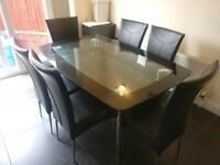 Black/Chrome Glass Dining Table Set + 6 Black Leather Chairs