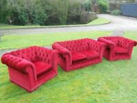 Chesterfield Sofa And 2 Club Armchairs