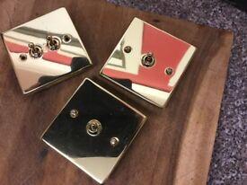 3 brass light switches