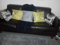sofas x2 real leather brown 3 and 2