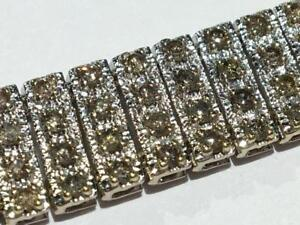 "#1629 10K WHITE GOLD BROWN DIAMOND 7.5"" BRACELET. JUST OVER 6CT OF DIAMONDS!! APPRAISED FOR $7250.00 SELLING FOR $2095!"
