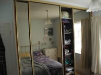 mirroed wardrobe and shelves