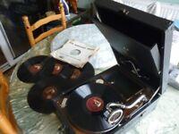 beautiful vintage (HMV)original hsi masters voice table top portable 78 speed gramophone & 5 records