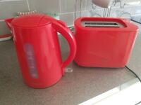 Red kettle and toaster set