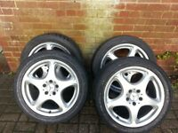 Five Mercedes Benz alloy 18 rims with tyres, Ashford,Kent