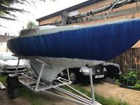 22ft ketch sailing yacht with custom trailer