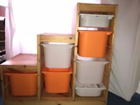 2 X IKEA solid pine toy storage - ideal for a sloping roof