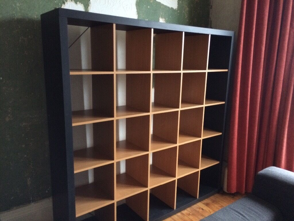 Ikea expedit 5x5 vinyl record shelves black beech now for Ikea kallax records