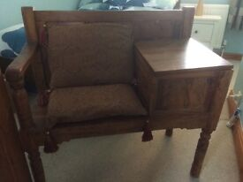 Wooden Telephone table with seat and storage