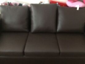 X2 3 seater brown leather couch