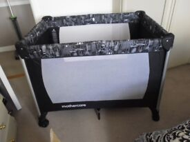 MOTHERCARE DELUXE AS NEW TRAVEL COT WITH MATTRESS