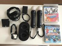 2 PlayStation move controllers + charging dock ( Playstation VR / PS4/PS3) + PS eye camera + 2 games