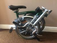Brompton M3L Folding Bike, Pump, Mudguards, Rear Lighting