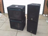DJ/PA Speakers and Amplifier.