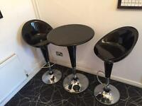Stylish Black & Chrome Cafe/Bistro set
