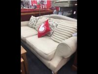 Two x 3 seater sofas oatmeal/cream colour
